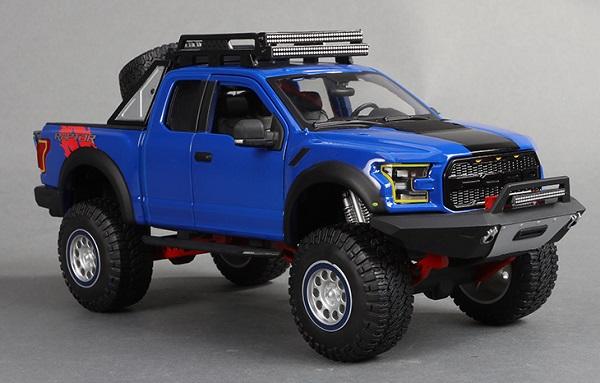 โมเดลรถยนต์ โมเดลรถเหล็ก รถเหล็ก ford raptor blue 1