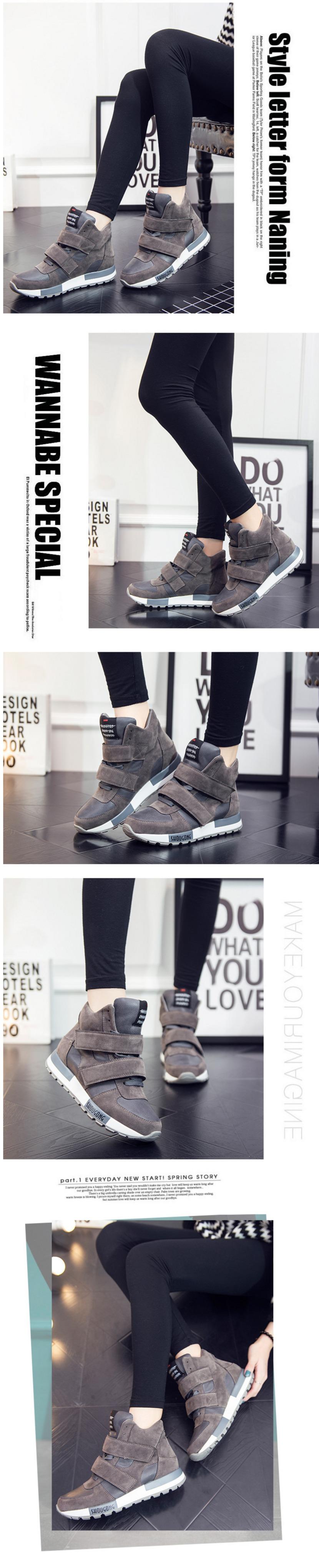 รองเท้าผ้าใบส้นสูง Velcro หนังนิ่ม