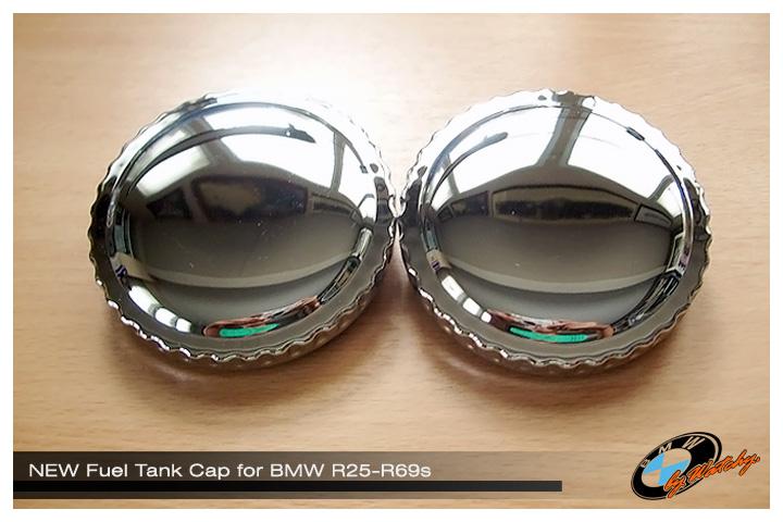 ฝาถังน้ำมัน โครเมียมเงาๆ เป็นของใหม่ สำหรับ BMW R25-R69s ราคาอันละ =980.-