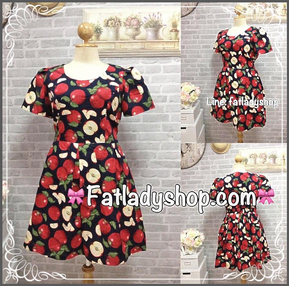 Dress Apple เดรสผ้าแคนวาส หัวไหล่จีบ ลายแอพเปิ้ลลน่ารักกๆ 2XL รอบอก49 วงแขน23 เอว36-42 โพก60 ยาว37นิ้ว