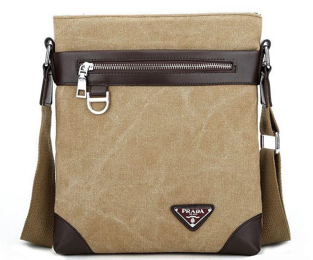 กระเป๋าสะพายข้างผู้ชาย ขนาดกลาง กระเป๋าสะพายผ้าแคนวาส แบบไม่มีฝาปิด ใช้ง่าย กระเป๋าสะพายข้างผู้หญิง ผู้ชายใช้ได้ สีน้ำตาล น้ำเงิน 607366