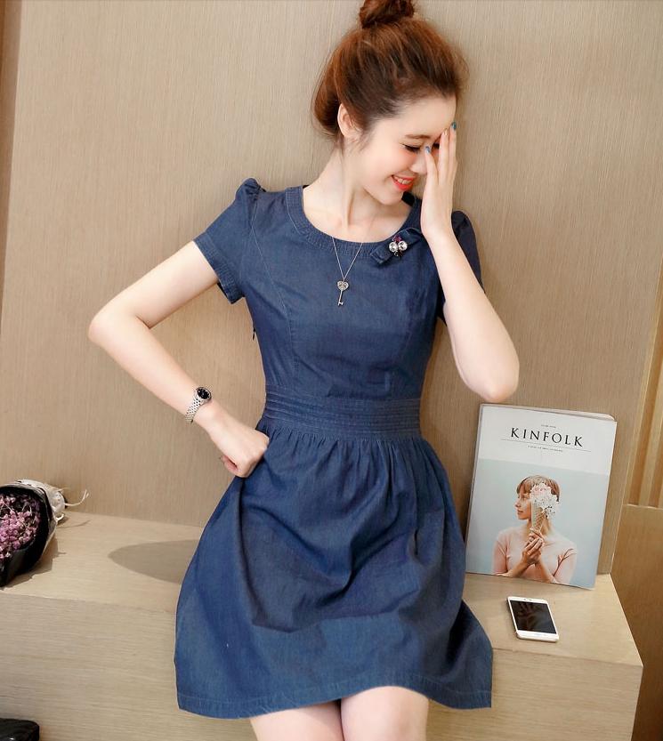 Denim Dress ชุดเดรสยีนส์ แขนสั้น