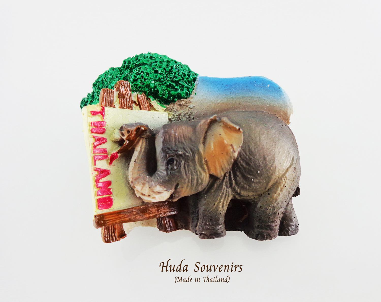 แม่เหล็กติดตู้เย็น ลวดลายช้างวาดภาพ วัสดุเรซิ่น ชิ้นงานปั้มลายเนื้อนูน ลงสีสวยงาม