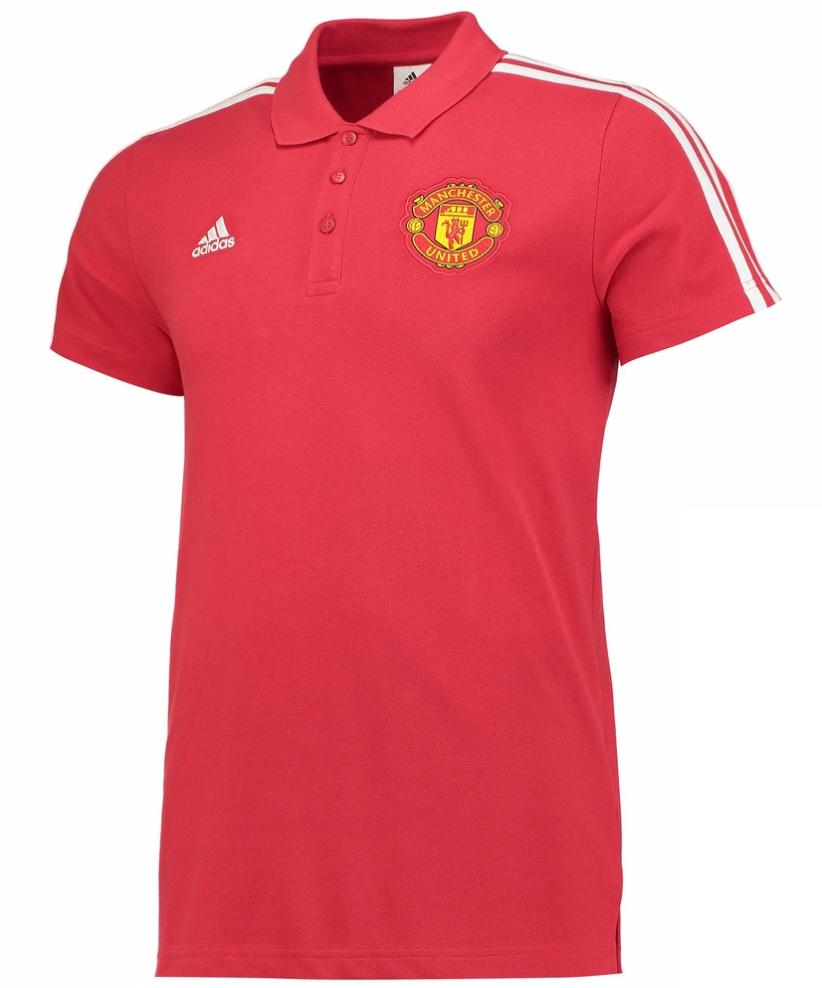 เสื้อโปโลอดิดาสแมนเชสเตอร์ ยูไนเต็ด Manchester United 3 Stripe Polo Red ของแท้