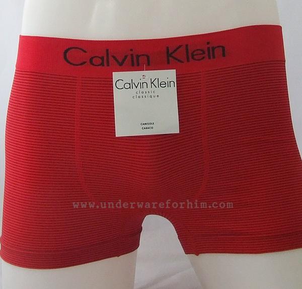 กางเกงในชาย Calvin Klein Boxer Briefs Free Size : สีแดง ลายทางดำ