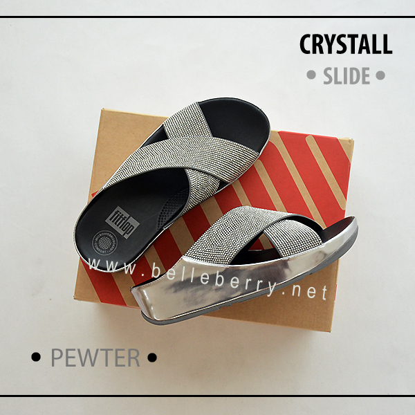 * NEW * FitFlop CRYSTALL Slide : Pewter : Size US 8 / EU 39