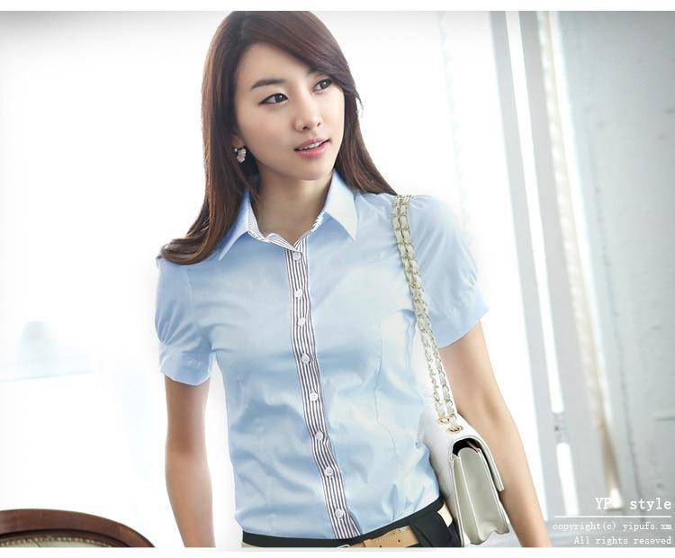 เสื้อเชิ๊ตทำงานแขนสั้น สำหรับผู้หญิงสีฟ้า