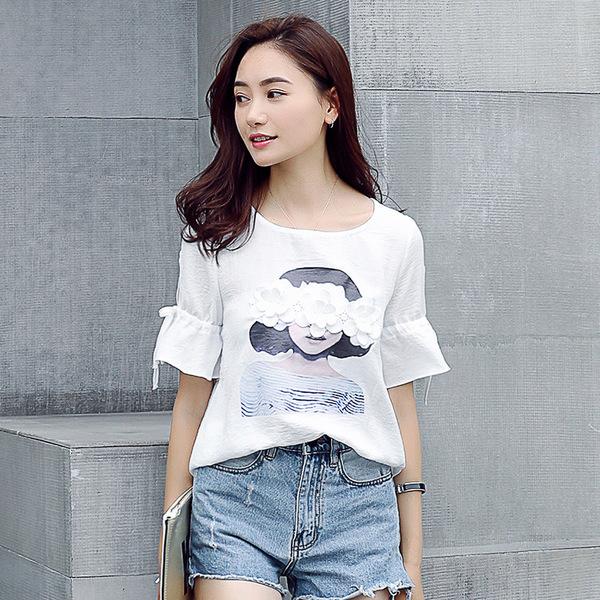 เสื้อชีฟองไซส์ใหญ่สีขาว สกรีนลายติดดอกไม้ (XL,2XL,3XL,4XL,5XL) E3568