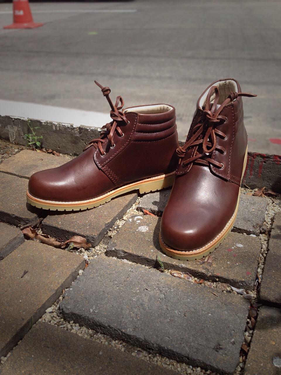 รองเท้าผู้ชาย | รองเท้าแฟชั่นชาย Brown Ankle Boots หนัง Oiled Pull Up