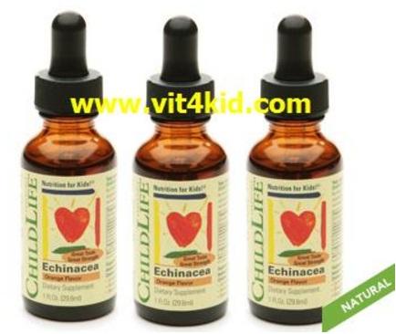 ChildLife Echinacea สมุนไพรต้านหวัด,ลดภูมิแพ้, รักษาหวัด รสส้ม เด็ก6เดือนขึ้นไป (exp.02/2020) หมด
