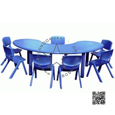 2SPO-1010B โต๊ะรูปถั่ว พร้อมเก้าอี้เด็กซ้อนได้ 7 ตัว