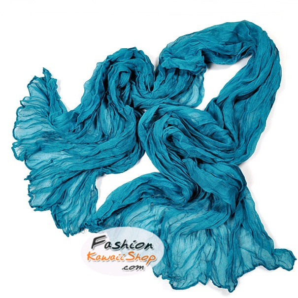 ผ้าพันคอแฟชั่นเกาหลีสีพื้น Hot Basic : สีฟ้าน้ำทะเล CK0405