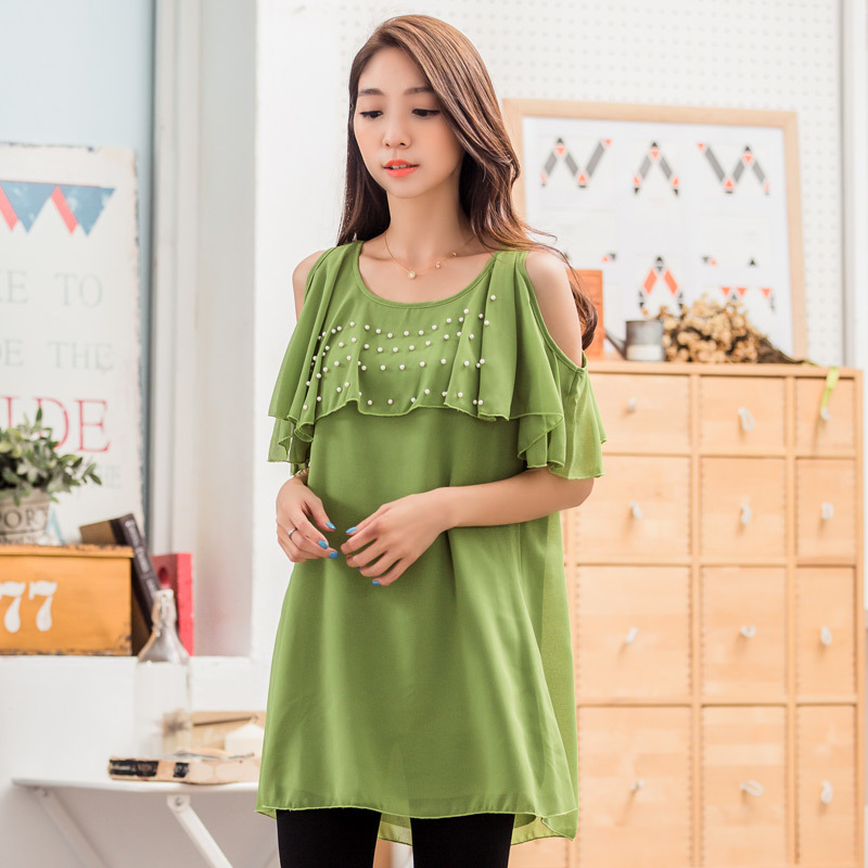 เสื้อชีฟองสีเขียวไซส์ใหญ่เว้าไหล่แต่งไข่มุก (F,XL,2XL,3XL) JK-9661