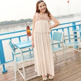 """""""พร้อมส่ง""""เสื้อผ้าแฟชั่นสไตล์เกาหลีราคาถูก Brand Vivi party Maxi dress เดรสยาวชีฟองสีน้ำตาล แขนกุด ช่วงไหล่และคอเสื้อ แต่งด้วยผ้าดอกไม้ ประดับด้วยมุกและคริสตัล เอวจั๊ม มีซับใน"""