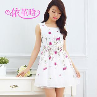 """size L """"พร้อมส่ง""""เสื้อผ้าแฟชั่นสไตล์เกาหลีราคาถูก เดรสผ้าแก้วปักลายดอกไม้สีชมพู แขนกุด ซิปหลัง มีซับใน2ชั้น"""