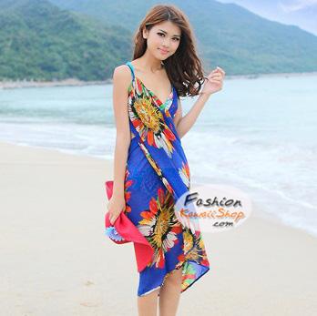 ผ้าสายเดี่ยวคลุมชายหาดลายดอกไม้ Blossom : สีน้ำเงิน AB0023