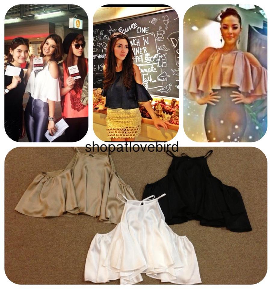 [[พร้อมส่ง]] Shopalo0229 เสื้อผูกหลังแขนผีเสื้อแบบคุณลิเดียร์และคุณบีใส่มาแล้วนะคะ เป็นผ้าซาตินซิลค์ ผ้าพริ้ว งานสวย รอบ 3
