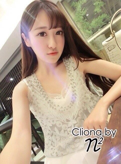 Cliona Made,Luxury White Floral Embroidery Tank Top