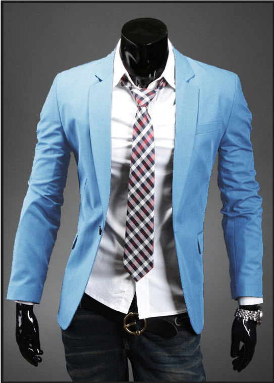 พร้อมส่ง เสื้อสูทผู้ชาย เสื้อสูทลำลอง สีฟ้า คอปก กระดุมเม็ดเดียว แขนยาว