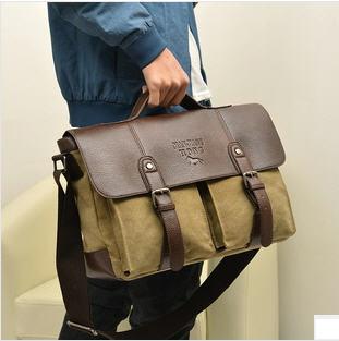 พรีออเดอร์ - กระเป๋าแฟชั่น ผ้าแคนวาส สะพายข้าง กระเป๋าหน้า 2 ข้าง ฝาปิด-เปิด กระเป๋าด้วยหนัง PU ใช้ทำงานใส่เอกสาร หรือสะพายเที่ยวได้ค่ะ จุของได้เยอะ สะพายหรือถือก็ได้