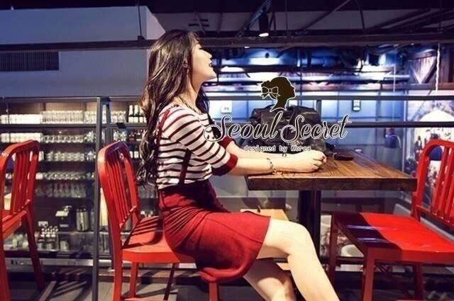 Set Knit Stripe Blouse Ornamental Fringe Sleeve with Clasper Skirty by Seoul Secret