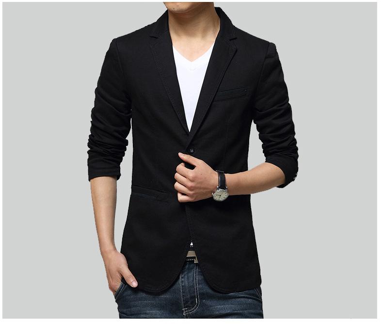 พร้อมส่ง เสื้อสูทลำลอง สีดำ คอปก เสื้อสูทผู้ชาย