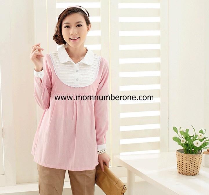 S57041Pink เสื้อคลุมท้องสีชมพูลายทางตีเกร็ด (เปิดให้นมได้)