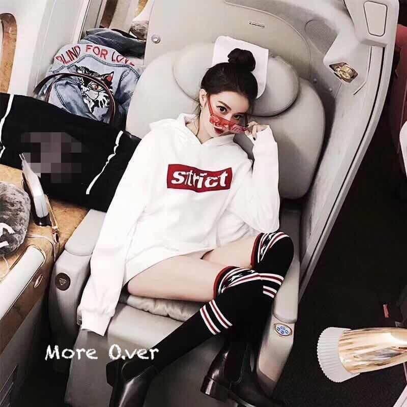 เสื้อผ้าเกาหลีพร้อมส่ง จั้มเปอร์แขนยาวมีฮู้ดสีขาว