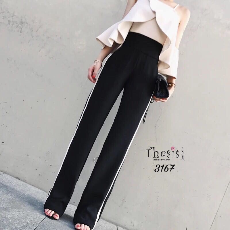 เสื้อผ้าเกาหลีพร้อมส่ง กางเกงเอวสูง แต่งแถบขาวด้านข้าง