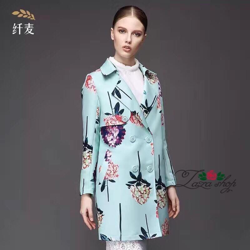 เสื้อผ้าเกาหลี พร้อมส่งเสื้อคลุม ลายดอกไม้ฤดูหนาว