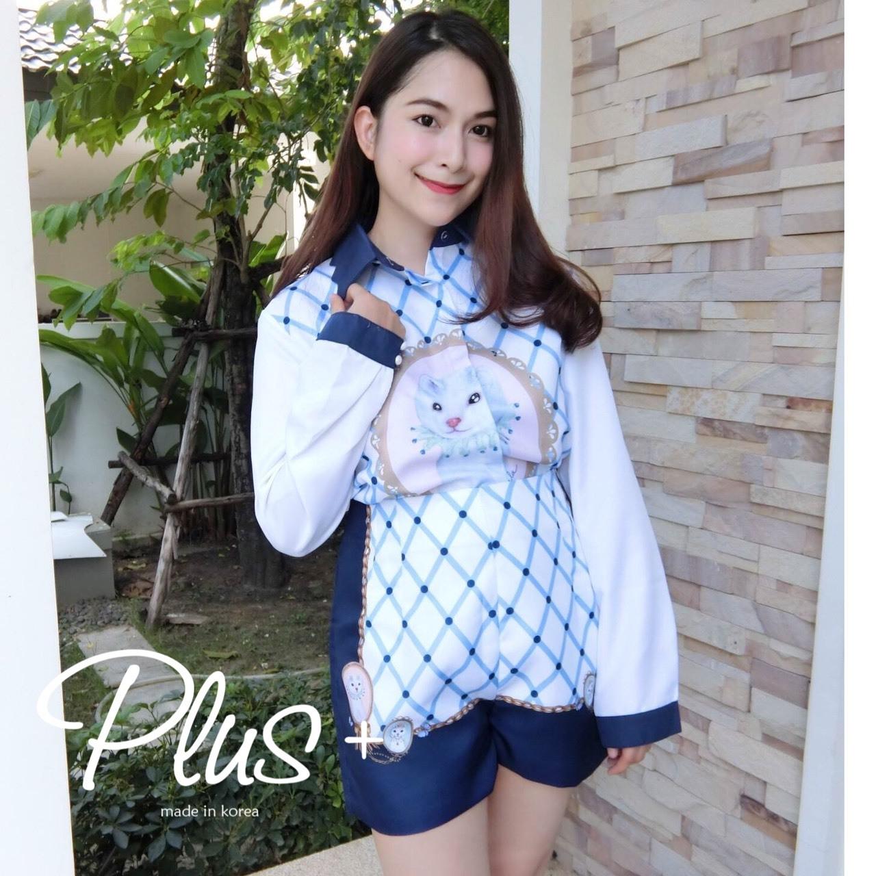 เสื้อผ้าแฟชั่นเกาหลีพร้อมส่ง เชิ้ตแขนยาว ผ้า cotton Polyester