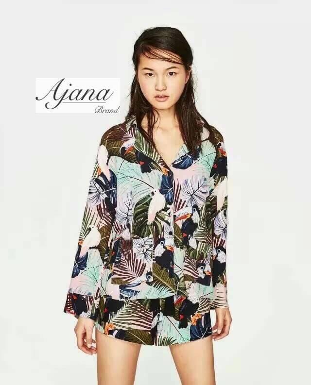 เสื้อผ้าเกาหลีพร้อมส่ง เสื้อคอปกพิมพ์ลายตามแบบ zara