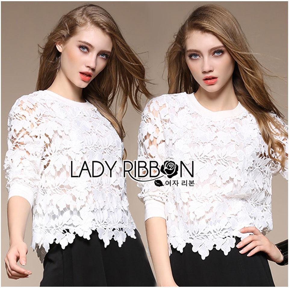 เสื้อผ้าเกาหลี พร้อมส่งจัมเปอร์ผ้าลูกไม้สีขาวสไตล์สปอร์ตผสมหวาน