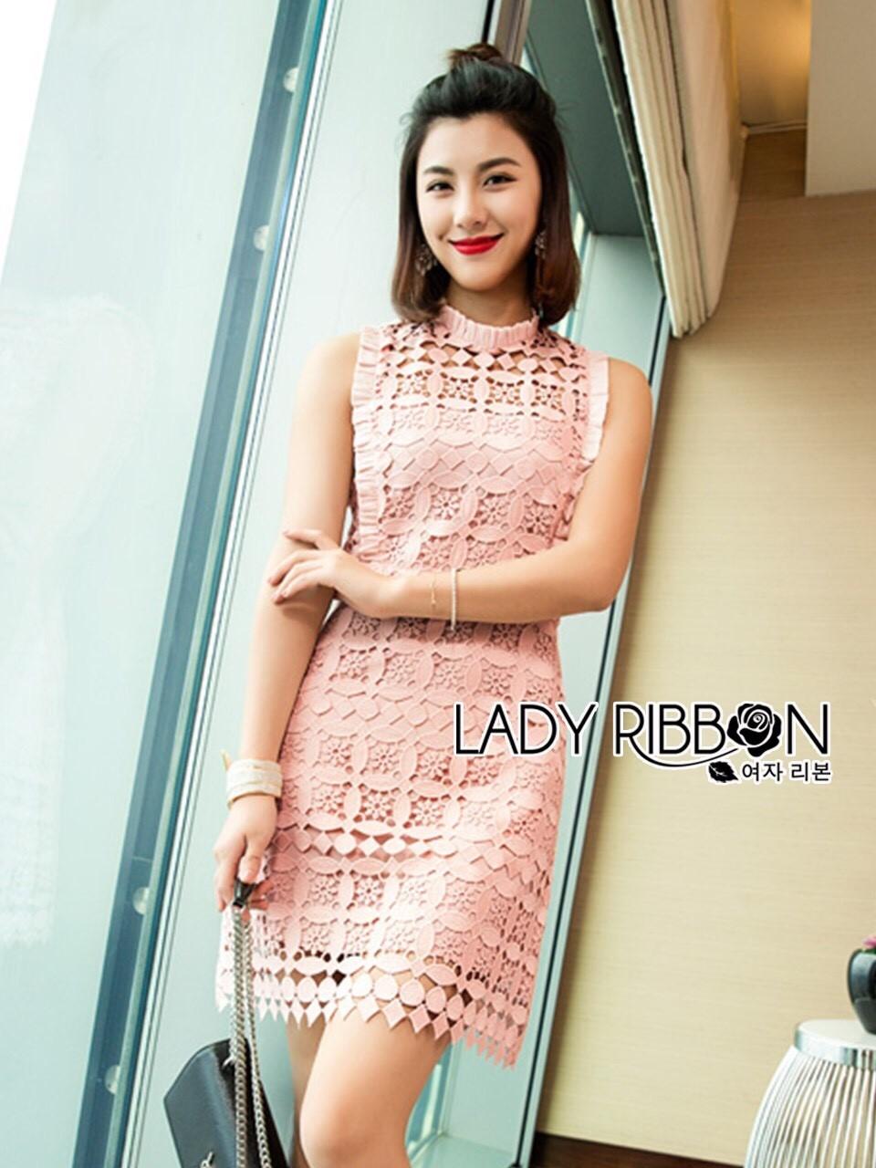 ชุดเดรสเกาหลี พร้อมส่งมินิเดรสผ้าลูกไม้สีชมพูอ่อนทรงแขนกุด