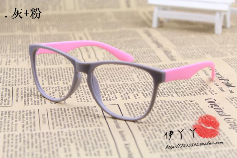 แว่นตาแฟชั่นเกาหลี สีเทาชมพู (ไม่มีเลนส์)