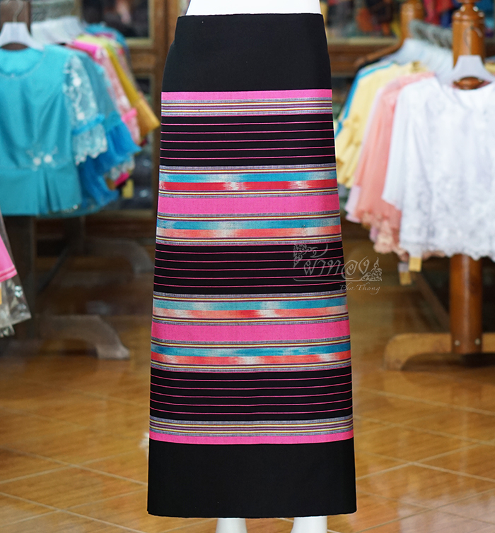 ผ้าซิ่นศิลามณี สีดำ-ชมพู