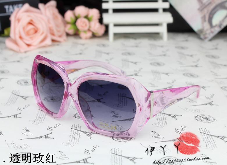 แว่นตากันแดดแฟชั่นเกาหลี กรอบเหลี่ยมสีชมพูใส