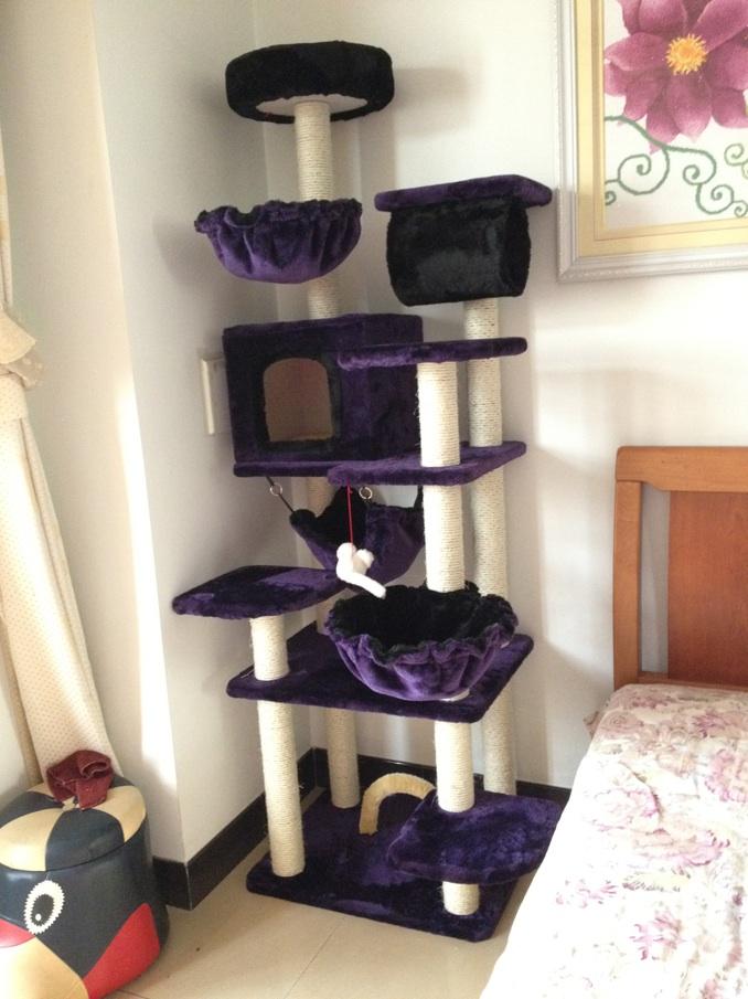 MU0066 คอนโดแมวหกชั้น ขนาดใหญ่ ต้นไม้แมว มีบ้านอุโมงค์ เปลนอน กระบะนอน ของเล่นแขวน สูง 193 cm