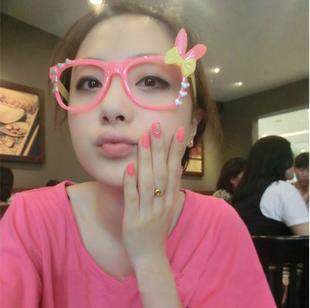 แว่นตาแฟชั่นเกาหลี กระต่ายชมพูเหลือง (ไม่มีเลนส์)