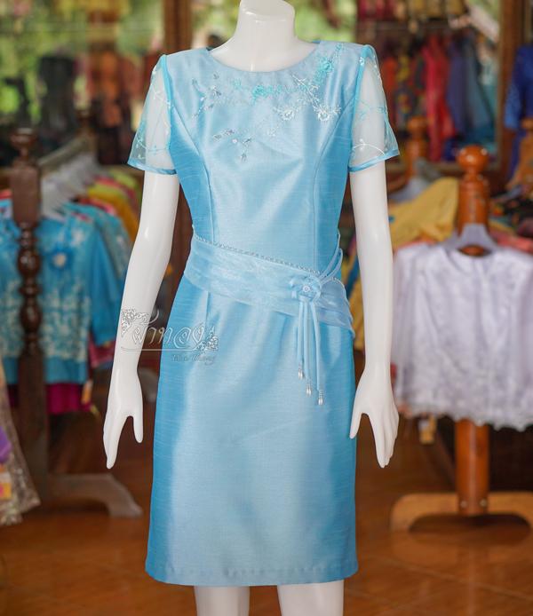 เดรสผ้าไหมแพรทอง สีฟ้า ไซส์ XL