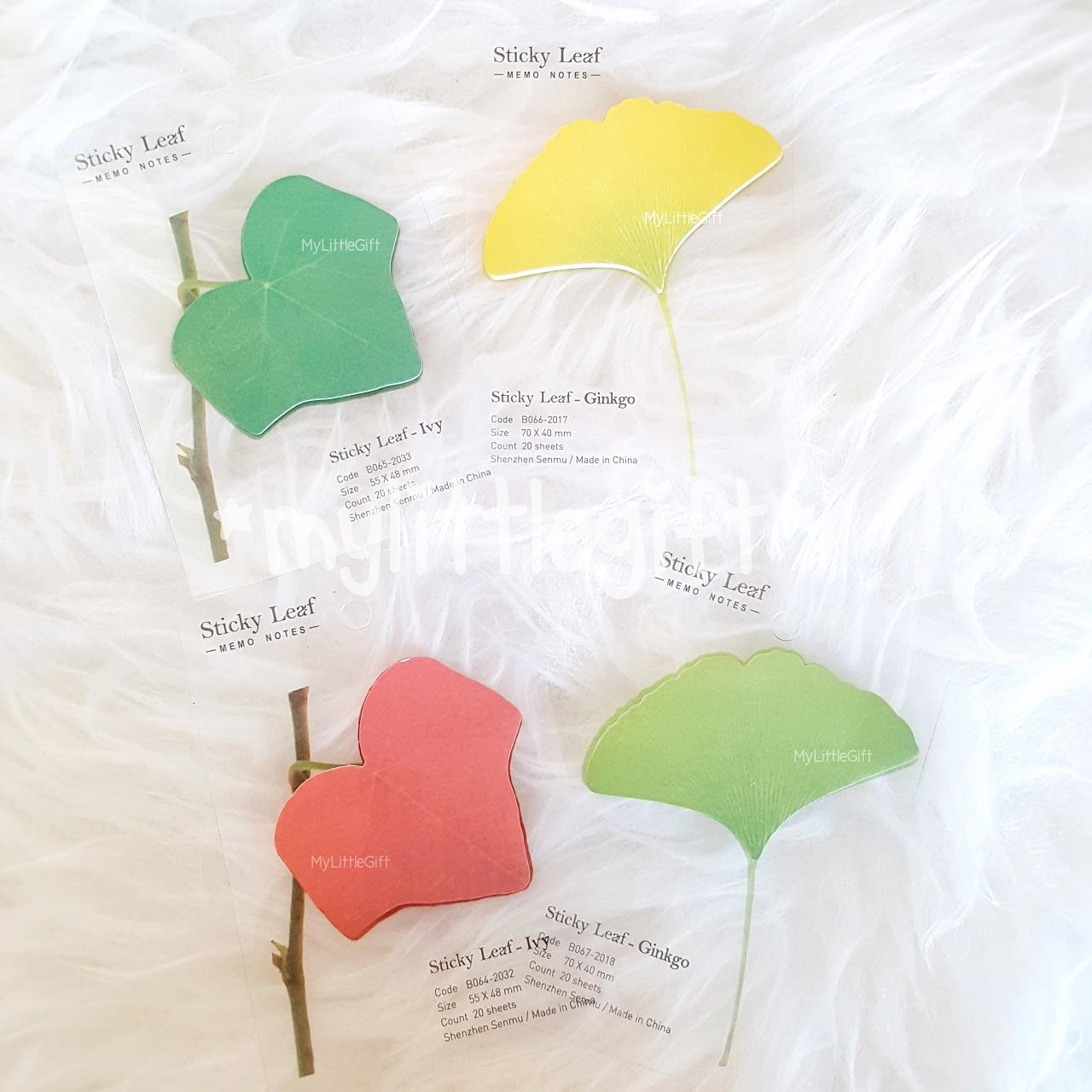 (Set 4 ชิ้น) Sticky Leaf กระดาษโน๊ตมีกาว รูปใบไม้