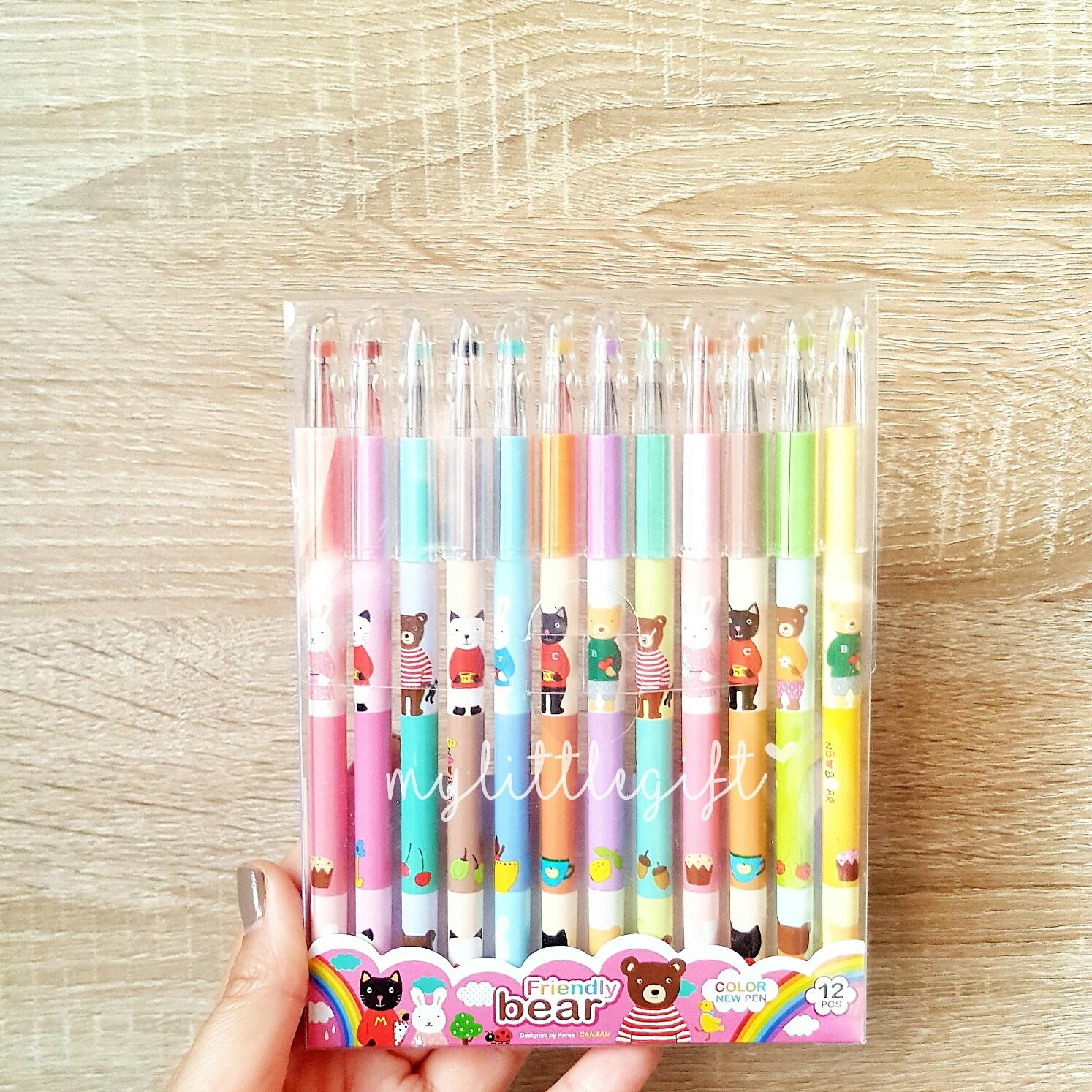 Friendly Bear Color Gel Pen ปากกาหมึกเจลลายน้องหมี 12สี