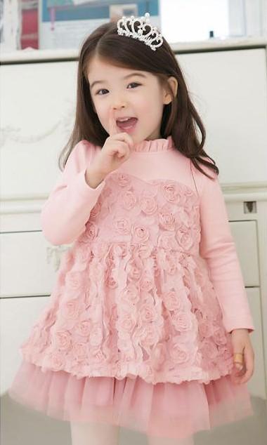เดรสดอกกุหลาบ สีชมพู