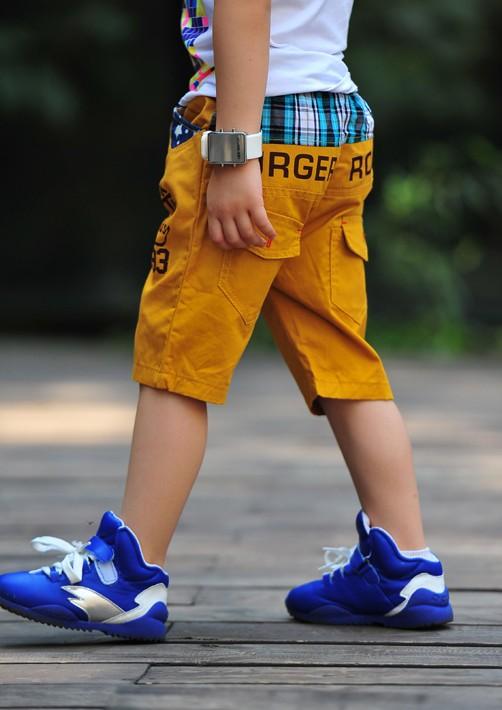 กางเกงขาสี่ส่วน Burger Rock สีเหลือง