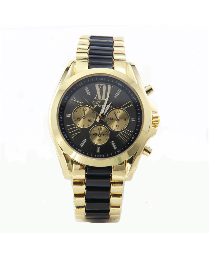 geneva Quartz watches women นาฬิกาผู้หญิง แบรนด์ของฮ่องกง ระบบควอทด์ กันน้ำ กันสนิม สีดำ