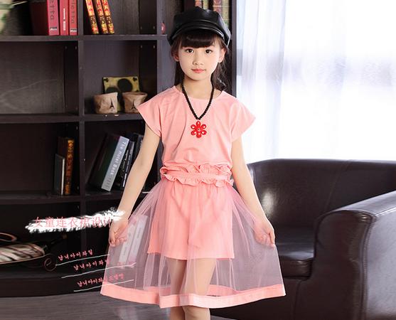 ชุดกระโปรงสีชมพู+ผ้าคาดเอว+สร้อยคอ
