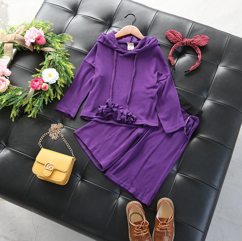 เสื้อมีฮูด+กางเกง สีม่วง