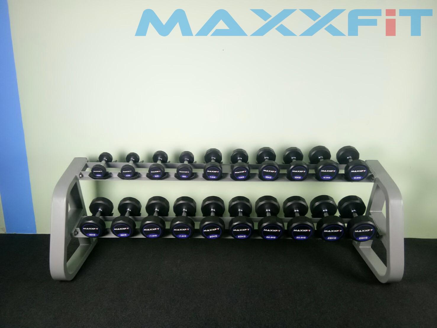 ชุดดัมเบล MAXXFiT ทรง 12 เหลี่ยม ขนาด 2.5 - 25 KG. (10 คู่) พร้อมชั้นวาง 2 ชั้น 10 คู่ สีเทา