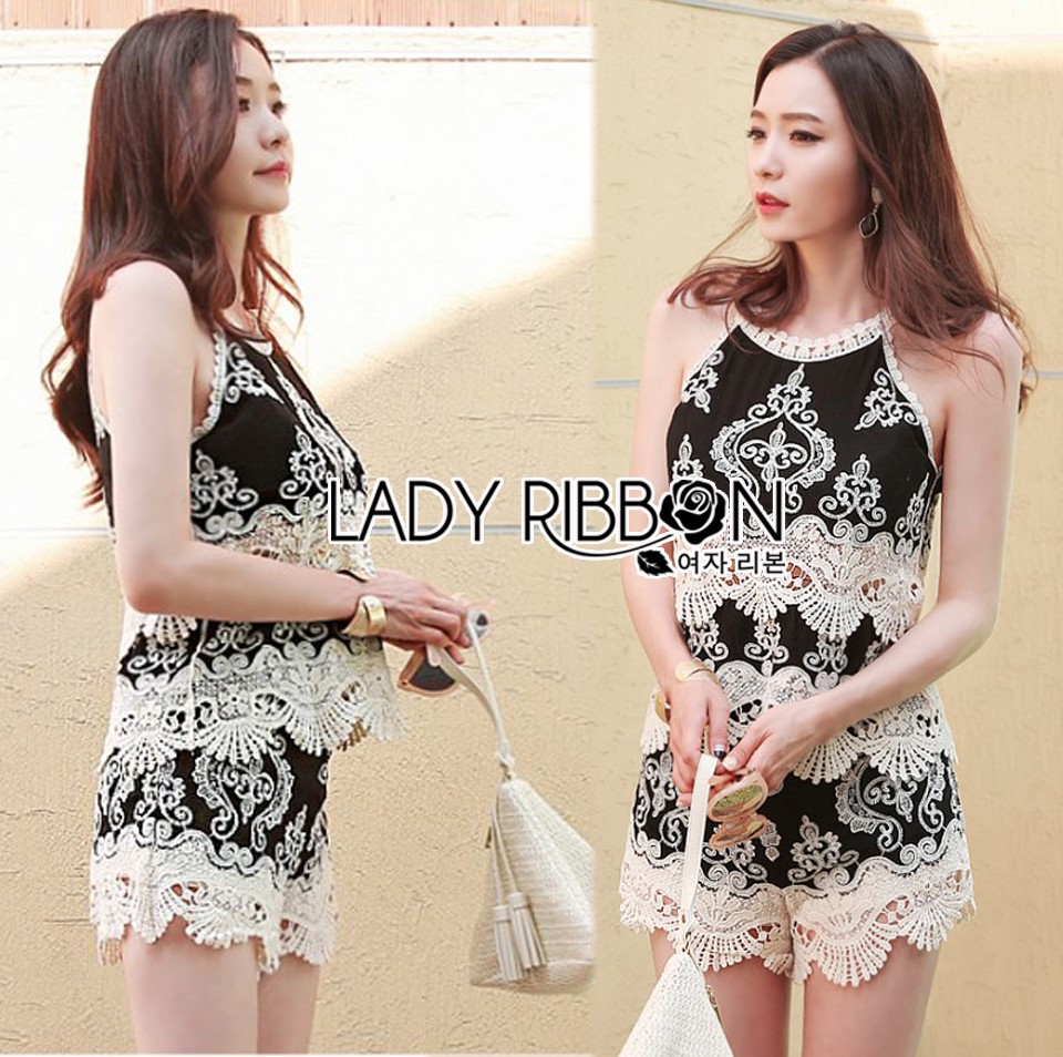 Lady Helena Black and White Lace Cropped Top and Shorts L271-6910