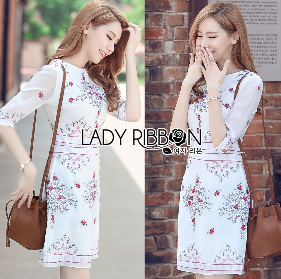 Lady Serena Smart Feminine Embroidered Cotton Dress L272-9914